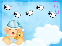 Baby counting sheep Royalty Free Stock Image