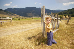 Baby on Country Road. Cute baby learning to walk on country road Royalty Free Stock Photos