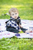 Baby in country setting Royalty Free Stock Photo
