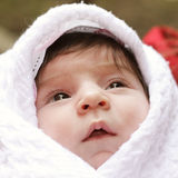 Baby in coverlet. Baby wrapped in coverlet looking up closeup face photo Royalty Free Stock Images