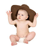 Baby with cowboy hat isolated on white Royalty Free Stock Images