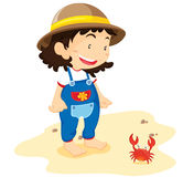 Baby with crab Vector Illustration