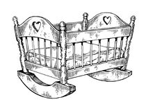Baby cradle engraving vector illustration Royalty Free Stock Photo