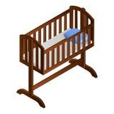 Baby cradle icon, isometric style royalty free illustration