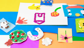 Baby crafts from play dough and colourful paper Royalty Free Stock Photography