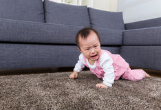 Baby crawl on floor Royalty Free Stock Photo
