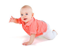 Baby crawling. On white background Stock Photo
