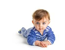 Baby crawling stock photography