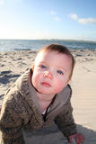 Baby crawling on beach Stock Photo
