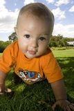 Baby crawling, close up. Happy crawling baby outdoors with an orange shirt Royalty Free Stock Photos