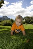 Baby crawling, close up. Happy crawling baby outdoors with an orange shirt Stock Image