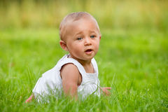 Baby is crawling in the grass Royalty Free Stock Image