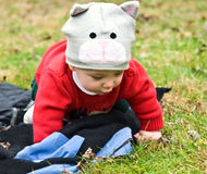 Baby Crawling in the Grass royalty free stock photography