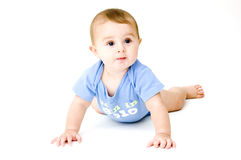 Baby Crawling, Isolated on White Royalty Free Stock Photo