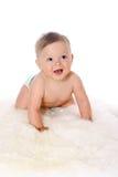 Baby crawling, isolated on white background Stock Photos