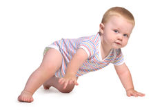 Baby crawls on all fours and look. Isolated on a white background Royalty Free Stock Image