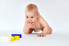 Baby crawls on all fours Royalty Free Stock Photo