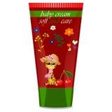 Baby cream tube with kids design Stock Image