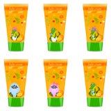 Baby cream tube with kids design Stock Photos