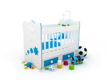 Baby crib. High res. 3d white crib with toys-for baby isolated Stock Images
