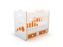 Baby crib. High res. 3d white crib with toys-for baby isolated Royalty Free Stock Photos