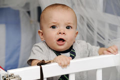 Baby in a crib. Baby boy standing up in his crib making funny faces Stock Photos