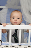 Baby in a crib Royalty Free Stock Image