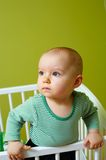 Baby in crib royalty free stock photography