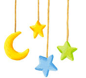 Baby crib hanging mobile toy - Moon and stars. Acrylic illustration of Baby crib hanging mobile toy - Moon and stars Royalty Free Stock Images