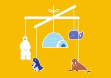 Baby crib hanging toy, illustrations Royalty Free Stock Photo