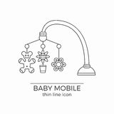 Baby crib hanging toy vector line icon. With flowers and bear on it. Usually comes with bed or carriage royalty free illustration