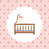 Baby crib icon on floral pattern. Royalty Free Stock Photography