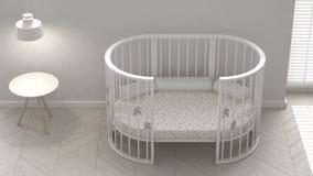 Baby crib, interior design. 3d illustration Royalty Free Stock Photography