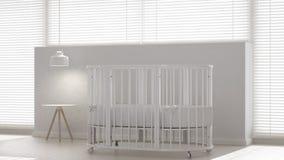 Baby crib, interior design. 3d illustration Stock Photography