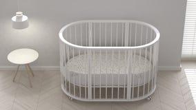 Baby crib, interior design. 3d illustration Royalty Free Stock Images