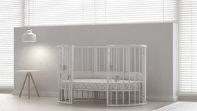 Baby crib, interior design. 3d illustration Royalty Free Stock Photo