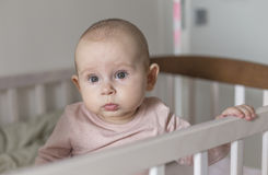 Baby in the crib itself abandoned Stock Images