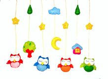 Baby crib mobile - kids toys royalty free stock photos
