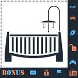 Baby crib icon flat royalty free illustration