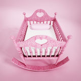 Baby crib. Pink baby crib isolated on white background Stock Photography