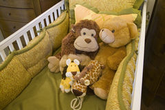Baby crib and toys.