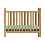 Baby crib with wood railing Stock Image