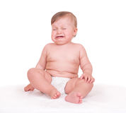 Baby cries on white Royalty Free Stock Photography