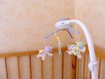 Baby crip mobile, baby mobile with copy space stock images