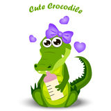 Baby crocodile or alligator. Very high quality original trendy illustration of a baby crocodile or alligator with nipple Royalty Free Stock Images