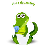 Baby crocodile or alligator. Very high quality original trendy illustration of a baby crocodile or alligator with nipple and diaper Stock Photos