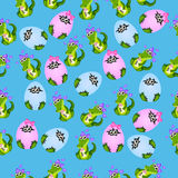 Baby crocodile or alligator. Very high quality original trendy seamless pattern with baby crocodile or alligator with nipple Stock Images