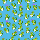 Baby crocodile or alligator. Very high quality original trendy seamless pattern with baby crocodile or alligator with nipple and diaper Stock Photo