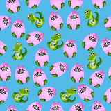 Baby crocodile or alligator. Very high quality original trendy seamless pattern with baby crocodile or alligator with nipple and diaper Royalty Free Stock Photo