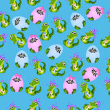Baby crocodile or alligator. Very high quality original trendy seamless pattern with baby crocodile or alligator with nipple and diaper Royalty Free Stock Photos